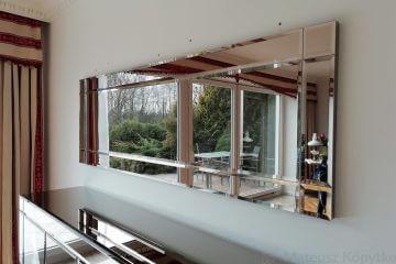 Frezowane lustro na wymiar i meble szklane - Realizacja Piaseczno