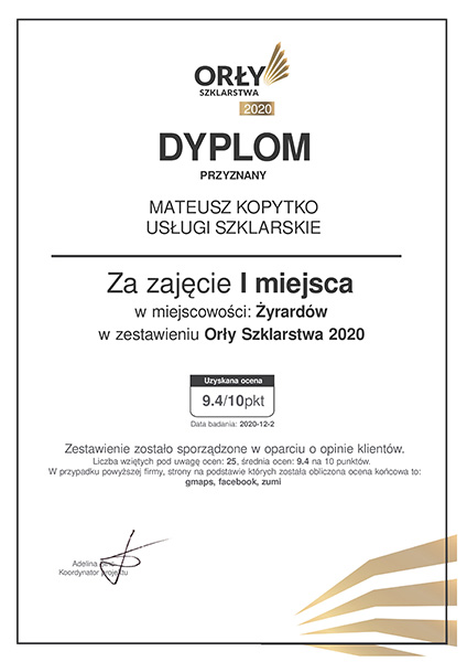Zwycięzca konkursu w kategorii usługi szklarskie w Żyrardowie